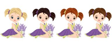 Vector Cute Little Girls with Lavender Bouquets Stock Photo