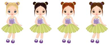Vector Cute Little Girls with Lavender Bouquets Royalty Free Stock Photography