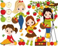 Vector Cute Little Girls Picking Apples in Orchard. Vector little girls. Vector apples of various colors and shapes. Vector little girl. Vector little girls Royalty Free Stock Images
