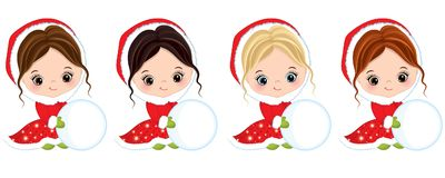 Vector Cute Little Girls Play with Snowballs. Vector Christmas girls with various hair colors. Vector little girl. Little girls with snowballs vector Stock Photography