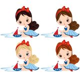 Vector Cute Little Girls Dressed in Nautical Style with Toy Ships. Vector cute little girls playing with toy ships. Vector little girls with various hair coiors Royalty Free Stock Images
