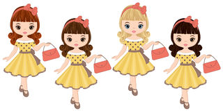 Vector Cute Little Girls in Retro Style Royalty Free Stock Photos