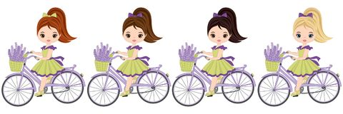 Vector Cute Little Girls Riding Bicycles. Vector Girls with Lavender Royalty Free Stock Photo