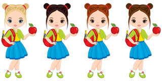 Vector Cute Little Girls with School Bags and Apples. Vector little girls with various hair colors. Little girls vector illustration Stock Photography