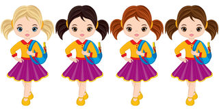 Vector Cute Little Girls with School Bags. Vector little girls with various hair colors. Little girls vector illustration Royalty Free Stock Photos