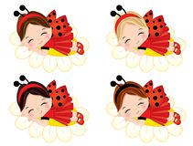 Vector Cute Little Girls Sleeping on Flowers Stock Image