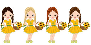 Vector Cute Little Girls with Sunflowers Stock Image