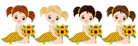Vector Cute Little Girls with Sunflowers Royalty Free Stock Photos