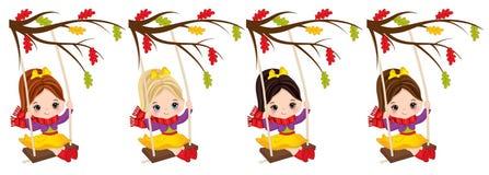 Vector Cute Little Girls Swing. Vector little girls with various hair colors. Vector little girl. Autumn little girls vector illustration Royalty Free Stock Image