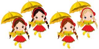 Vector Cute Little Girls with Umbrellas. Vector little girls with various hair colors. Vector little girl. Autumn girls vector illustration Royalty Free Stock Photography
