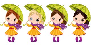 Vector Cute Little Girls with Umbrellas. Vector little girls with various hair colors. Vector little girl. Autumn girls vector illustration Royalty Free Stock Images