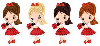 Vector Cute Little Girls with Ladybugs Stock Images