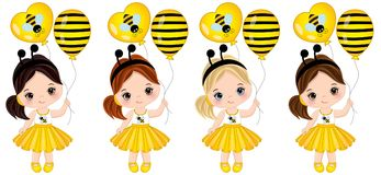 Vector Cute Little Girls with Balloons. Vector cute little girls with various hair colors. Little girls dressed in bee style. Vector little girl. Little girls vector illustration