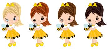 Vector Cute Little Girls with Bees. Vector cute little girls with various hair colors. Little girls dressed in bee style. Vector little girl. Little girls vector vector illustration