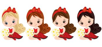 Vector Cute Little Girls with Various Hair Colors stock illustration