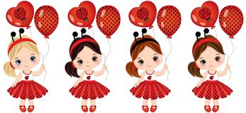 Vector Cute Little Girls with Balloons. Vector cute little girls with various hair colors. Little girls dressed in ladybug style. Vector little girl. Little Royalty Free Stock Photos