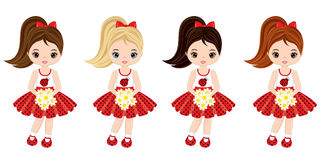 Vector Cute Little Girls with Various Hair Colors Royalty Free Stock Photo