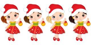 Vector Cute Little Girls Wearing Santa Hats. Vector cute little girls with wearing Santa hats. Vector little girls with Christmas balls. Vector Christmas girls Stock Photography