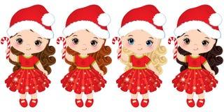 Vector Cute Little Girls Wearing Santa Hats Stock Photos