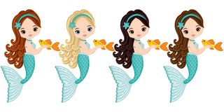 Vector Cute Little Mermaids with Fish. Vector Mermaids Stock Image