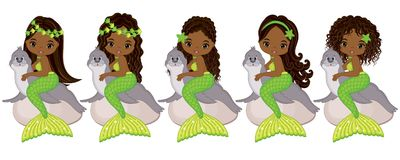 Vector Cute Little Mermaids with Fur Seals. Vector African American Mermaids. With various hairstyles. Vector mermaid. Mermaids vector illustration stock illustration