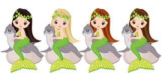 Vector Cute Little Mermaids with Fur Seals. Vector Mermaids. With various hair colors. Vector mermaid. Mermaids vector illustration stock illustration