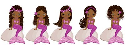 Vector Cute Little Mermaids Sitting on Stones. Vector African American Mermaids. With various hairstyles. Vector mermaid. Mermaids vector illustration Royalty Free Stock Photos