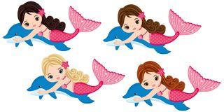 Vector Cute Little Mermaids Swimming with Dolphins. Vector Mermaids. With various hair colors. Vector mermaid. Mermaids vector illustration Royalty Free Stock Photography