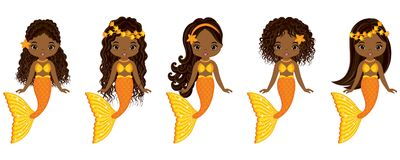 Vector Cute Little Mermaids Swimming. Vector African American Mermaids vector illustration
