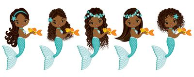 Vector Cute Little Mermaids. Vector African American Mermaids. Vector cute little mermaids with fish. Vector African American mermaids with various hairstyles vector illustration