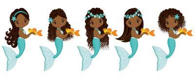 Vector Cute Little Mermaids. Vector African American Mermaids Stock Photos
