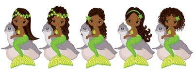 Free Vector Cute Little Mermaids With Fur Seals. Vector African American Mermaids Stock Photo - 103754980