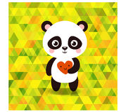 Vector cute little panda on triangles background. Stock Image