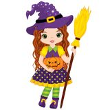 Vector Cute Little Witch with Broomstick and Pumpkin. Vector Halloween witch. Vector Witch. Halloween witch vector illustration Stock Photos