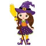 Vector Cute Little Witch with Broomstick. Vector Halloween witch. Vector Witch. Halloween witch vector illustration Stock Images
