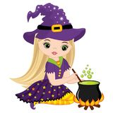 Vector Cute Little Witch Cooking Magic Potion in Cauldron. Vector Halloween witch. Halloween witch vector illustration Stock Photos