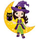 Vector Cute Little Witch with Owl Sitting on the Crescent. Vector Halloween witch. Vector Witch. Halloween witch and owl vector illustration Royalty Free Stock Image