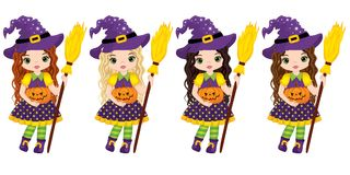 Vector Cute Little Witches with Broomsticks and Pumpkins Royalty Free Stock Images