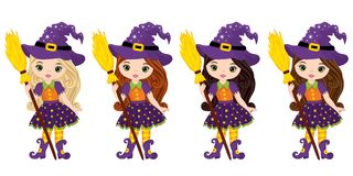 Vector Cute Little Witches with Broomsticks Royalty Free Stock Images