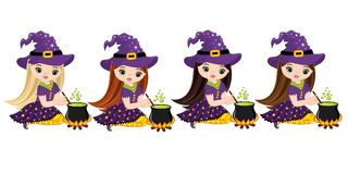 Vector Cute Little Witches Cooking Magic Potion in Cauldrons Stock Photo