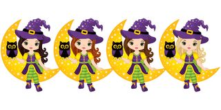 Vector Cute Little Witches with Owls Sitting on the Crescent Royalty Free Stock Photos