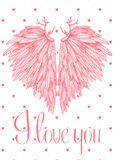 Vector cute lovely card with heart shaped angel wings Royalty Free Stock Image
