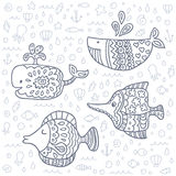 Vector cute marine life doodle set. Royalty Free Stock Images