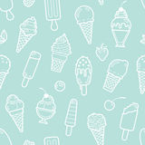 Vector cute mint seamless pattern with ice creams Stock Image