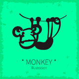Vector cute monkey illustration. Royalty Free Stock Image