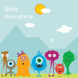 Vector cute monsters friends on the flat background stock illustration
