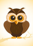 Vector cute owl. Vector illustration of cute owl sitting on branch Stock Photo