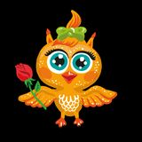 Vector cute owl. Cartoon character. Bird holding a rose flower. Royalty Free Stock Images