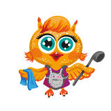 Vector cute owl. Cartoon character housewife . Royalty Free Stock Photo