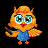 Vector cute owl. Cartoon character. Make-up artist. Royalty Free Stock Photography